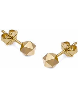 Gold Icosahedron Stud Earrings