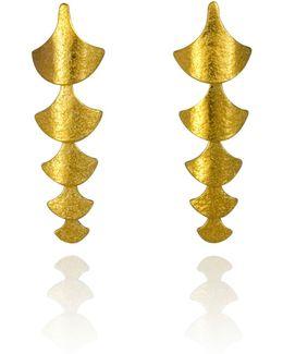 Siren Scale Drop Earrings Gold