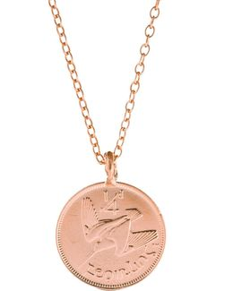 Worth You Weight In Gold Farthing Coin Necklace Rose Gold