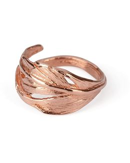 I Can Fly Tiny Swan Feather Ring In Rose Gold
