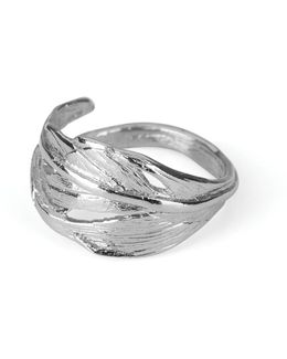 I Can Fly Tiny Swan Feather Ring In Silver