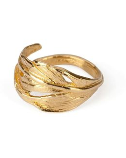 I Can Fly Tiny Swan Feather Ring In Gold
