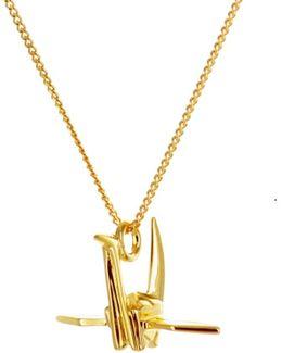 Mini Crane Necklace Gold