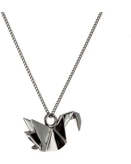 Mini Swan Necklace Gun Metal