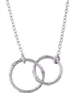 Just The Two Of Us Hawthorn Twig Circle Necklace In Silver
