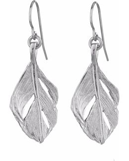 I Can Fly Midi Swan Feather Earrings Silver