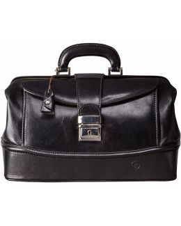 The Donnini S Small Luxury Leather Doctors Bag Black