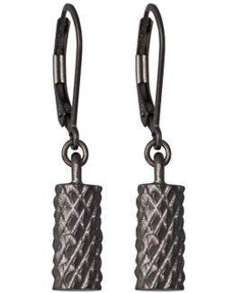 Diamond Cut Cylinder Drop Earrings Black