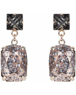 Rectangular Drop Stone Earring Silver