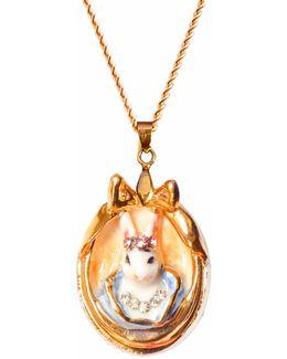Princess Cottontail Bunny Portrait Pendant Necklace
