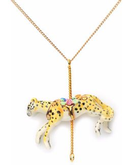 Merry Go Round Porcelain Small Cheetah Pendant