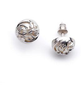 Orb & Ivory Pearl Stud Earrings