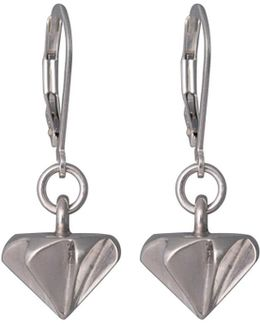 Countersink Drop Earrings Silver