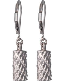 Diamond Cut Cylinder Drop Earrings In Silver