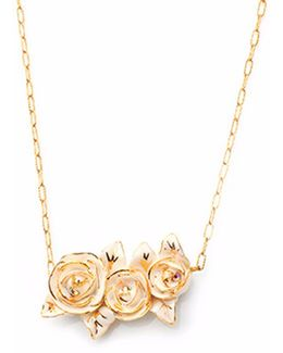 Porcelain Gold Peony Pendant With Gold Plated Necklace