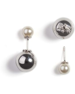 Orb & Ivory Pearl Stud Earrings