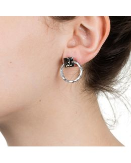 Two Part Hoop Earring Silver