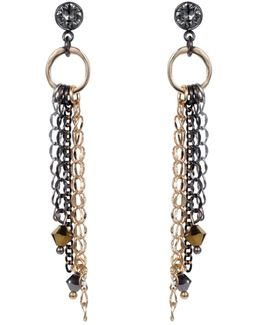 Mixed Metal Chain Drop Earring