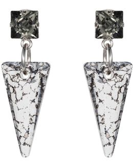 Crystal Shard Earring Black Patina