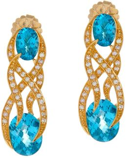 Heliconia Blue Topaz Yellow Gold Earrings