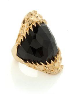 Black Vampire Bite Ring Gold