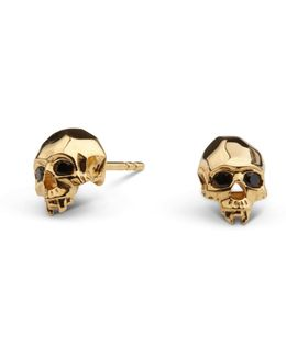 Vampire Skull Stud Earrings Gold