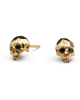 Vampire Skull Stud Earrings Gold