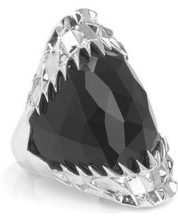 Black Vampire Bite Ring Silver
