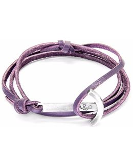 Grape Purple Clipper Silver & Leather Bracelet