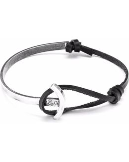 Coal Black Galleon Silver & Leather Half Bangle