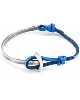 Royal Blue Galleon Silver & Leather Half Bangle