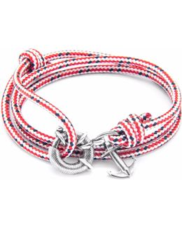 Red Dash Clyde Silver & Rope Bracelet