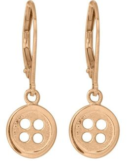 Button Drop Earrings In Gold