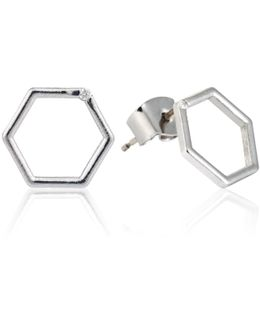 Hexagon Stud Earrings In Silver