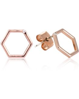 Hexagon Stud Earrings In Rose Gold
