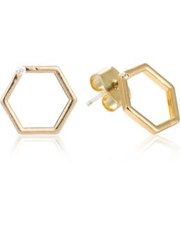 Hexagon Stud Earrings In Gold