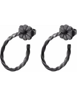 Black Mini Twist Hoop Earrings