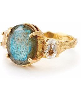 Dew Drop In The Wild Gold Ring In Labradorite And Quartz