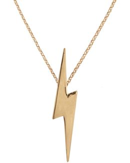 Pointed Lightning Bolt Pendant Gold