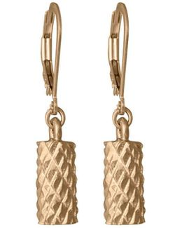 Diamond Cut Cylinder Drop Earrings In Gold