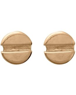 Flat Head Screw Earrings In Gold