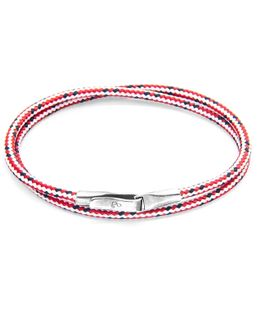 Red Dash Liverpool Silver & Rope Bracelet