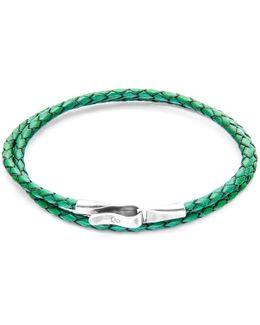 Fern Green Liverpool Silver & Leather Bracelet