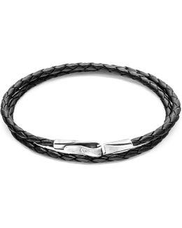 Coal Black Liverpool Silver & Leather Bracelet