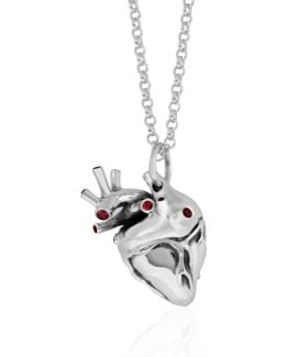 Heart Pendant Silver With Rubies