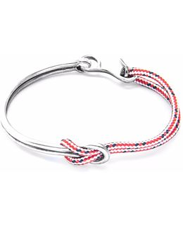 Red Dash Tay Silver & Rope Half Bangle