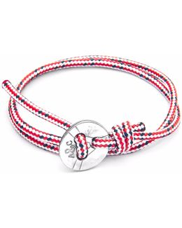 Red Dash Lerwick Silver & Rope Bracelet