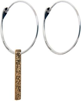 Silver Hoop Earrings With Patterned Bar Pendant