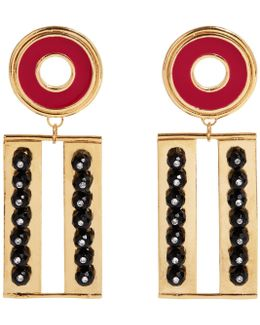 Get Cool Boy Earrings Gold Red & Black