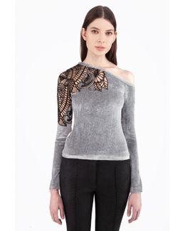 One Shoulder Velvet Embroidered Top